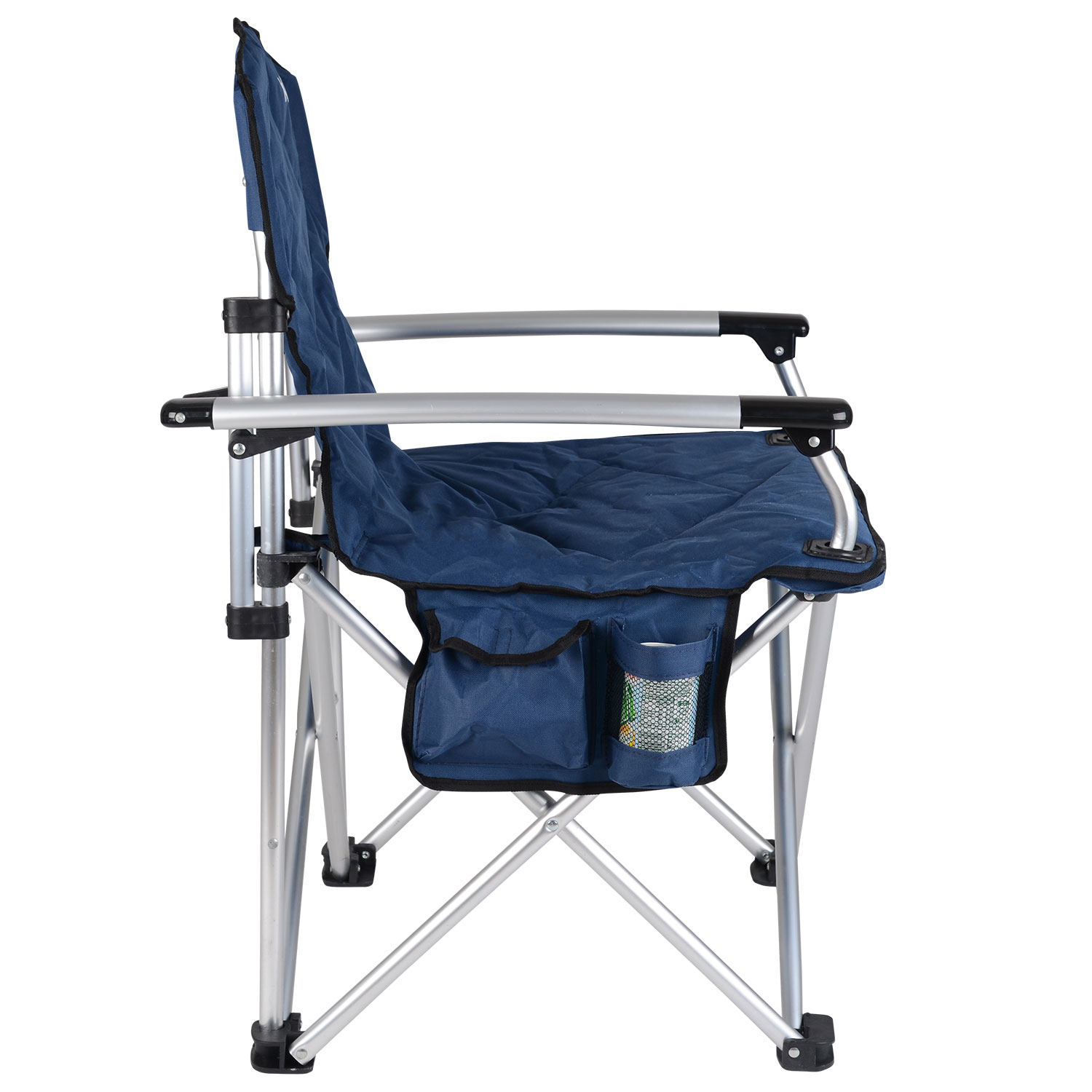 Folding Camping Chair Padded Outdoor Festival Armchair With Drink Holder And