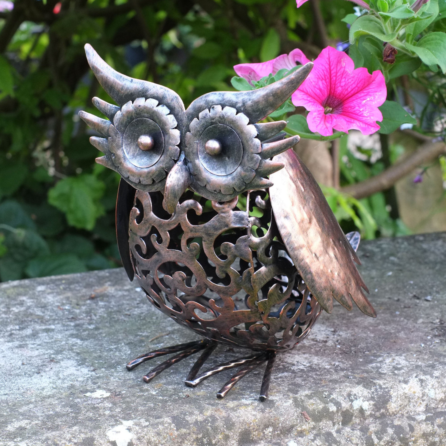 Solar powered garden light handmade metal filigree patio for Lawn ornaments for sale