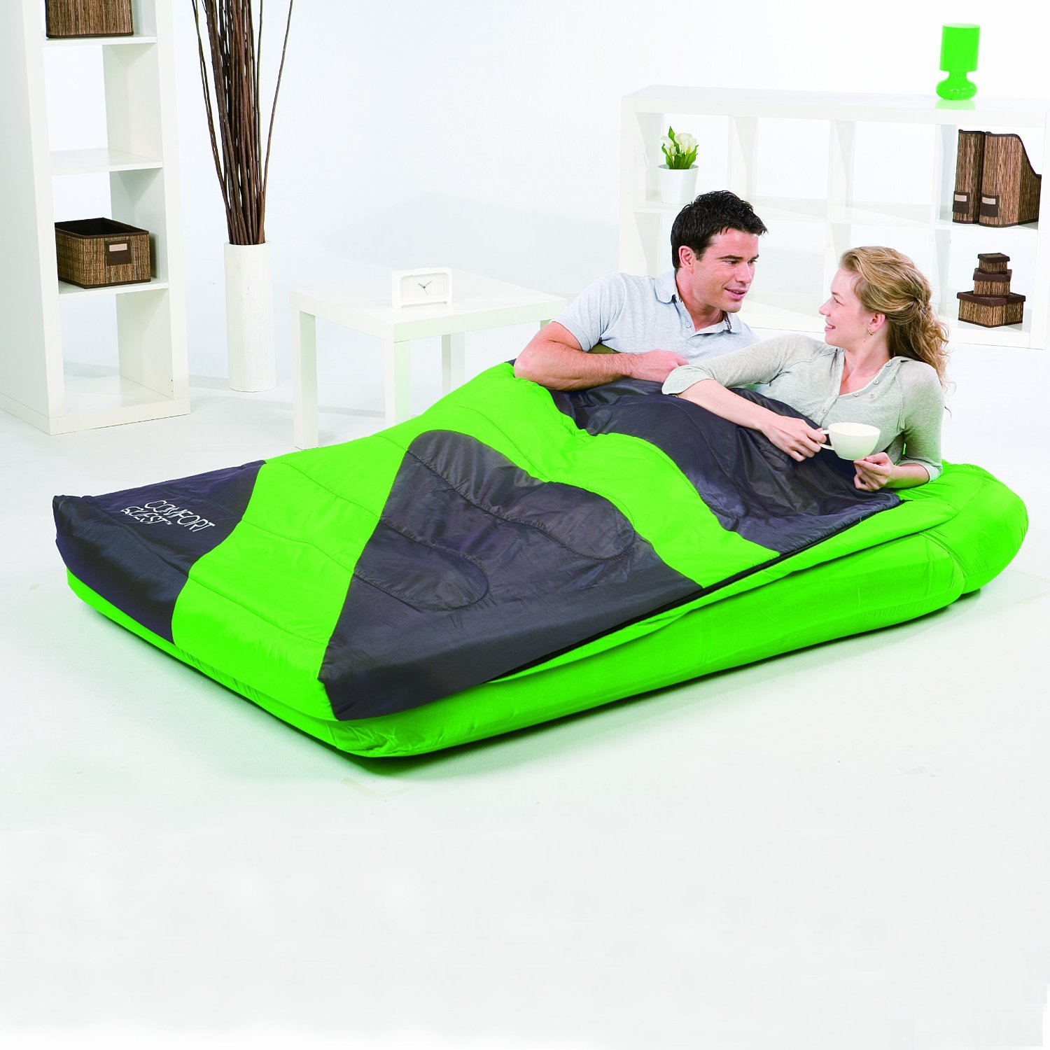 aslepa double sleeping bag airbed inflatable camping air bed mattress pillow ebay. Black Bedroom Furniture Sets. Home Design Ideas