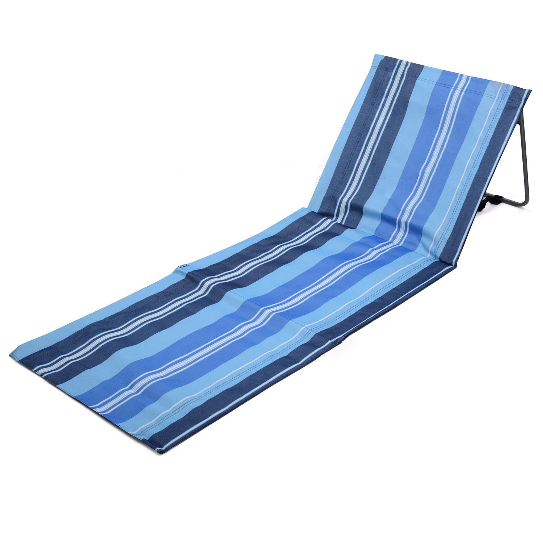 Portable Folding Adjustable Beach Mat Lounger Camping Garden Festival Deck Chair