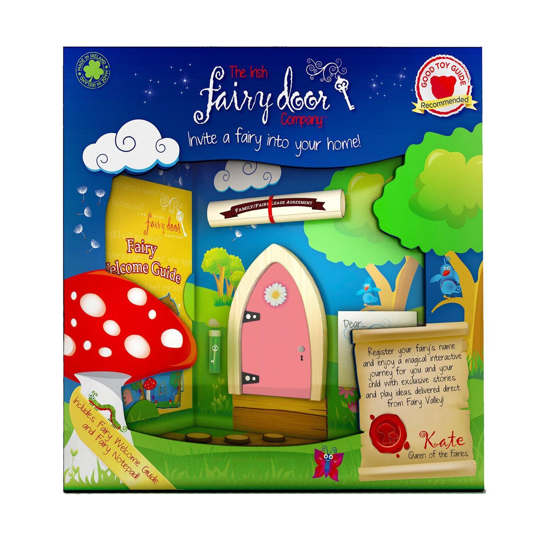 Irish fairy company arched wooden door magical key indoor for Fairy door gift set