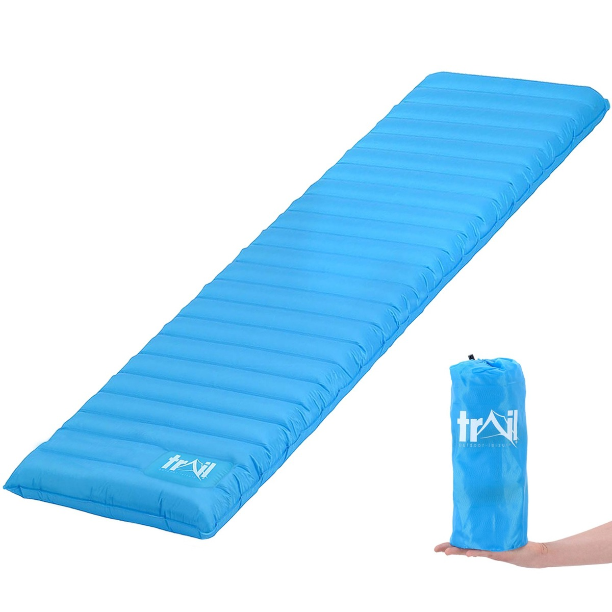 Lightweight Compact Camping Mat Inflatable Single Sleeping Roll Pad Air Mat Bed