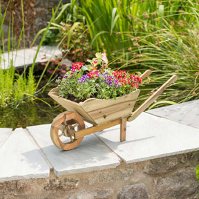 Wheel barrow plant pot